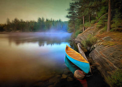 Canoe Digital Art - Blue Canoe by Anthony Caruso