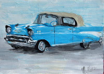 Scoop Painting - Blue Car by Mary Haas