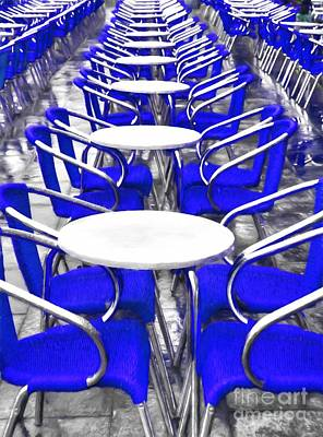 Empty Chairs Photograph - Blue Chairs In Venice by Mel Steinhauer