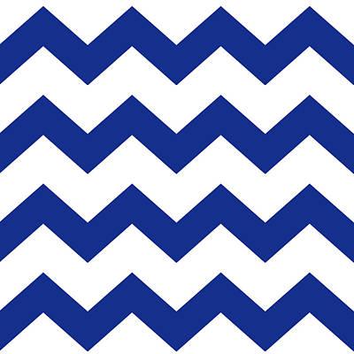 Rollo Digital Art - Blue Chevron Pattern by Christina Rollo