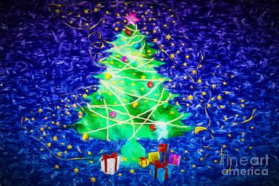 Christmas Digital Art - Blue Christmas by Ezeepics