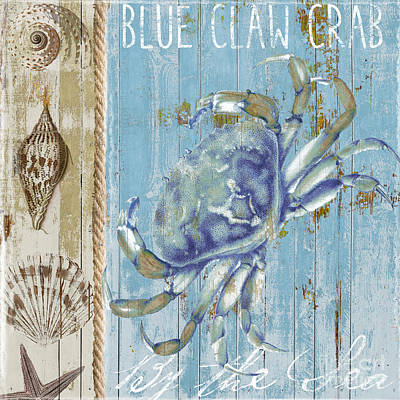 Abstract Collage Painting - Blue Claw Crab by Mindy Sommers