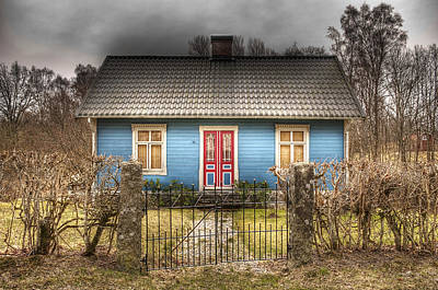 Blue Cottage Print by Elisabeth Van Eyken