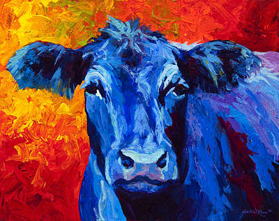 Blue Cow II Print by Marion Rose