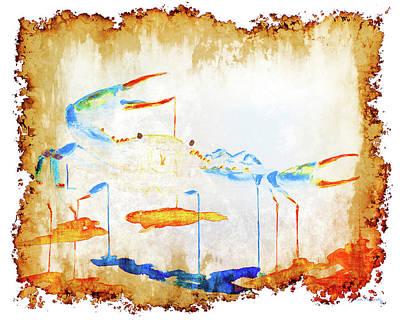 Keys Painting - Blue Crab On Parchment Paper by Ken Figurski