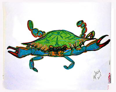 Fish Underwater Painting - Blue Crab  by W Gilroy
