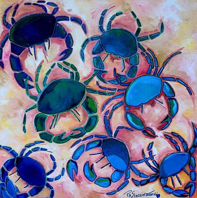 Blue Crab Painting - Blue Crabs by Patti Schermerhorn