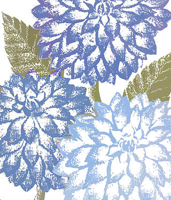 Blue Dahlias Print by Mindy Sommers