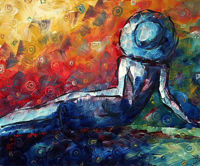 Blue Daze Original Madart Painting Print by Megan Duncanson