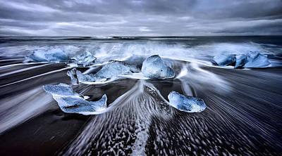 Blue Diamonds Print by Jes?s M. Garc?a
