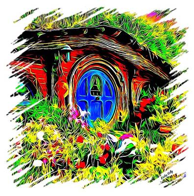 Blue Door Hobbit House-t Shirt Print by Kathy Kelly