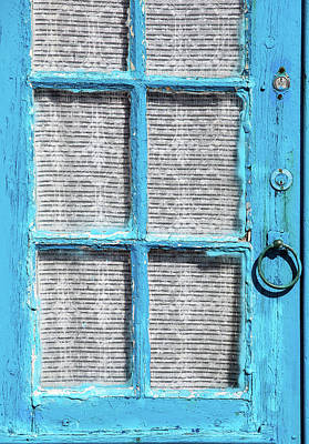 Blue Door Window With White Lace Print by David Letts