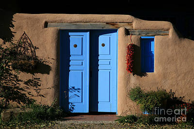 Taos New Mexico Photograph - Blue Doors by Timothy Johnson