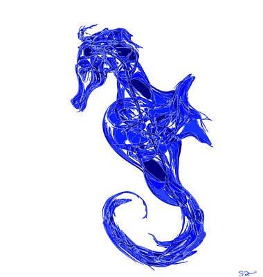 Seahorse Painting - Blue Dreamer Seahorse by Abstract Angel Artist Stephen K