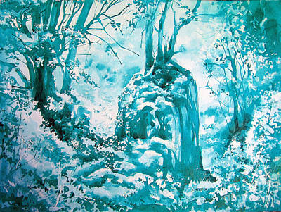 Monotone Painting - Blue Earth by Lorna Webber