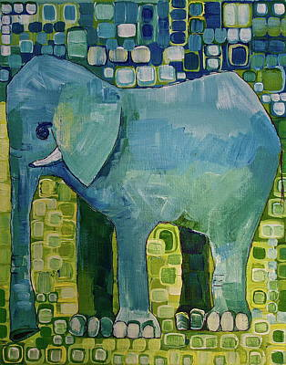 Happy Elephant Painting - Blue Elephant by Donna Howard