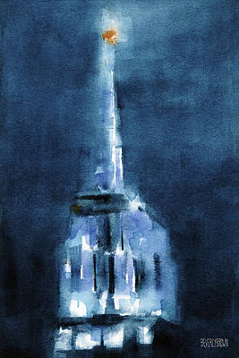 Urban Scenes Painting - Blue Empire State Building by Beverly Brown Prints