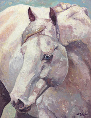 Equine Painting - Blue Eyed Arab Horse by Gill Bustamante