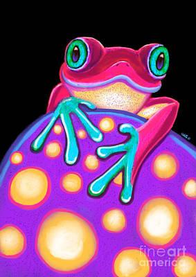Painting - Blue Eyed Frog On Purple Mushroom by Nick Gustafson