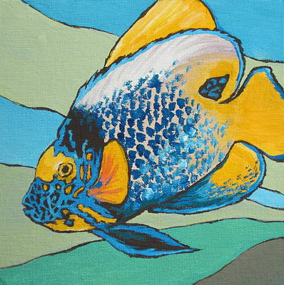 Fish Painting - Blue Face Angelfish by Sandy Tracey