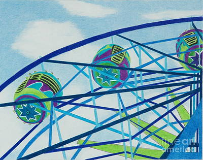 Blue Ferris Wheel Print by Glenda Zuckerman