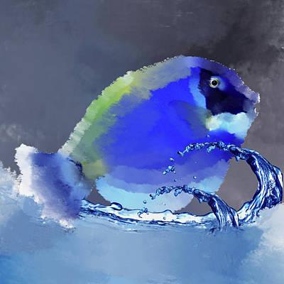 Blue Fish Print by Art Spectrum