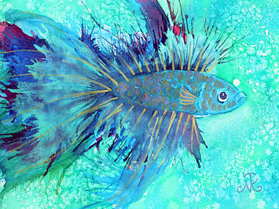 Blue Fish Print by Nina Tyksinski