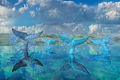 Sharks Digital Art - Blue Flags by Betsy Knapp