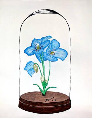 Blue Flower Under Glass Cloche Print by Edwin Alverio