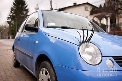 Blue Funny Car With Eyelashes Print by Arletta Cwalina