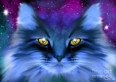 Kitty Digital Art - Blue Ghost Cat by Nick Gustafson
