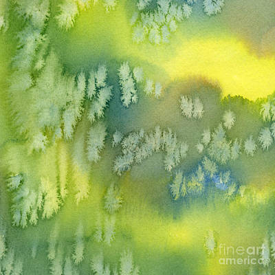 Cushion Painting - Blue Green And Yellow Abstract Watercolor Design 1 by Sharon Freeman