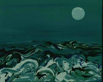 Painting - Blue-green Moonlit Sea by B L Qualls