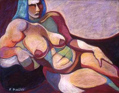 Blue-haired Odalisque Original by Kate Mueller