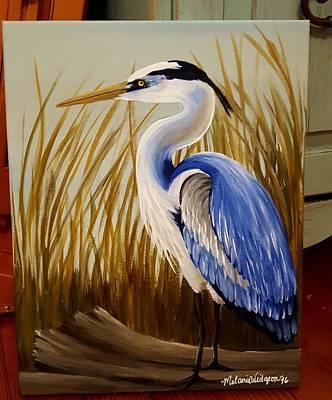 Blue Heron On Driftwood Print by Melanie Widgeon