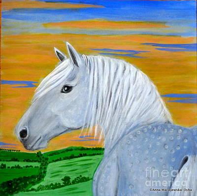 Polscy Malarze Painting - Blue Horse by Anna Folkartanna Maciejewska-Dyba