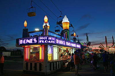 Rollercoaster Photograph - Blue Hour At The State Fair by Allen Beatty