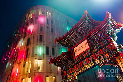 London Photograph - Blue Hour In Chinatown by Pete Edmunds