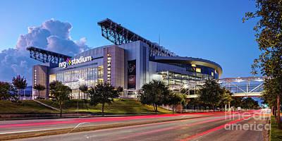 Blue Hour Photograph Of Nrg Stadium - Home Of The Houston Texans - Houston Texas Print by Silvio Ligutti