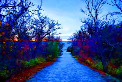 Plein Air Digital Art - Blue Hour Walk To The Beach by Lilia D