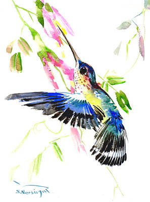 Hummingbird Painting - Blue Hummingbird by Suren Nersisyan