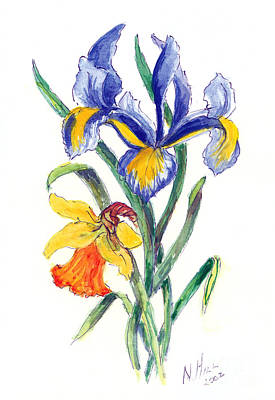 Irises Drawing - Blue Iris And Daffodil by Nell Hill