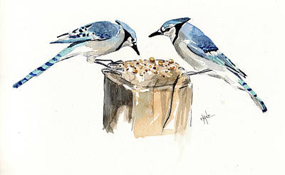Lovebird Painting - Blue Jay Lovebirds by Christine Camp