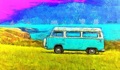 Truck Digital Art - Blue Kombi - Da by Leonardo Digenio