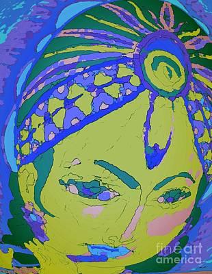 Blue Krishna Portrait Print by Jayne Somogy
