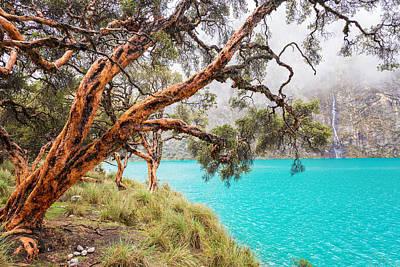 Blue Lake In The Cordillera Blanca Print by Jess Kraft