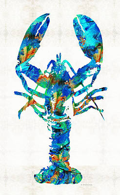 Blue Lobster Art By Sharon Cummings Print by Sharon Cummings