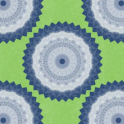 Blue Mandala- Art By Linda Woods Print by Linda Woods