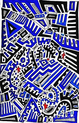 Red Abstract Drawing - Blue Maze by Sarah Loft