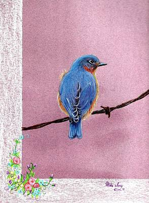 Bird On A Wire Drawing - Blue by Mike Ivey